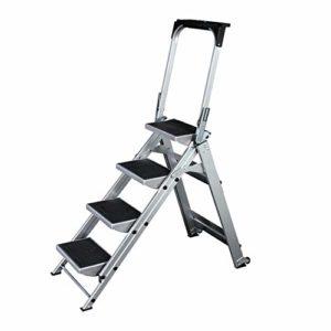 Feixunfan Chaise Escabeau 4/5 Étape Pliant en Aluminium Ladder Anti-Slip Portable escabeau Accueil Maison Bureau Garage Peinture Échelle avec Roue Accueil Cuisine à Double Usage