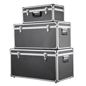 Festnight Lot de 3 boites de Rangement multiusage de différentes Tailles Boîte en Aluminium Noir+ Argent