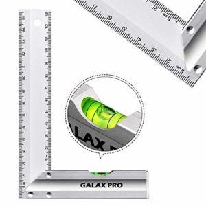 GALAX PRO Équerres de charpentier Carré de précision à angle droit 90 avec niveau à bulle 150mm, Poignée en Alliage d'Aluminium, pour l'Ingénierie, la Mesure, le Dessin-S0403