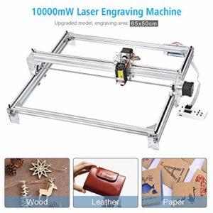 GRBL Machine de gravure laser, machine de découpe CNC routeur, marqueur d'image de logo pour imprimante DIY, imprimante de bureau à 2 axes pour cuir-bois-plastique, 65x50cm, 10000mW