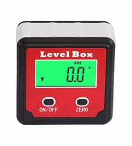 HHTEC Inclinomètre à angle LCD numérique étanche à l'eau Boîte d'angle Boîte Bevel Box Level Box d'angle Aimants intégrés