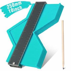 Jauge de contour en plastique,RATEL jauge de profilé règle de mesure de mesure Plastique Contour Jauge pour précision de mesure de carrelage, outil de marquage du bois stratifié(10 inch /250mm) Vert