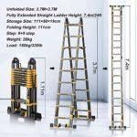 JYPZSH 24ft 7,4M Aluminium Pliant télescopique échelle avec stabilisateur, échelle télescopique Portable Extension for Loft Bureau Technique ménagère, Noir, Charge 330lb