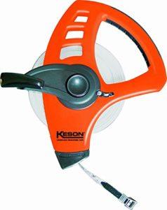 Keson FLT Série en fibre de verre Blade»Roue libre» Long ruban Mesure (différentes tailles: 50,3m–61m, 50m–60m; diverses unités: ft. et en, ft. et 10ème, M & cm et mm), FLT50MM