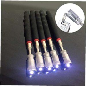 Lankater Mini bâton réel Néodyme Imanes LED Pick Up Outil télescopique magnétique Aimant Outil pour ramasser Les écrous et Les boulons