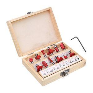 LMIAOM 12pcs 1/4 pouce tige de routeur carbure de tungstène trousse à outils rotatifs kit de travail du bois Accessoires de bricolage
