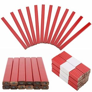Lot de 72 crayons de menuisier rouge en vrac, avec mine noire pour le travail du bois, la pierre