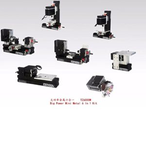 Machine de Tour de Travail de métal Mini métal Outil de Bricolage Métal Bois Big Power Mini métal 6 en 1 kit d'outils pour Hobby Sience Education Modelmaking