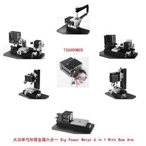 Machine de Tour de Travail de Mini métal motorisé Outil de Bricolage Grande Puissance en métal 6 en 1 avec l'outil de kit de Bras d'arc pour Hobby Sience Education Modelmaking