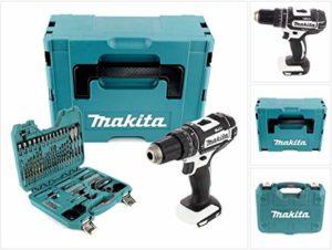 Makita DHP 482W ZJ Batterie Li-Ion 18V à percussion sans fil en coffret MAKPAC Blanc–Sans Batterie, sans Chargeur + 100pièces BIT & Set de forets