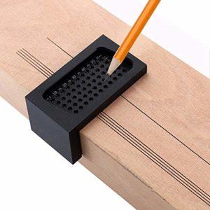 Mayyou T-Rule Scribe, règle dirigée Règle de mesure Marquage de précision Alliage daluminium Métrique Outil de travail du bois T60 Mini Scribe