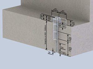 Mehrzügige échelles 530250 en acier inoxydable avec protection dorsale