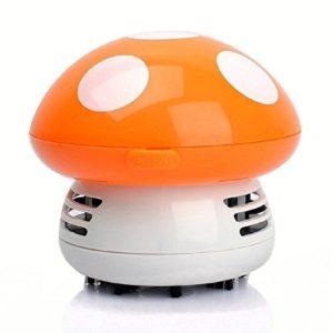 Mignon Champignon Mini Aspirateur pour Nettoyer Poussière Table/Bureau/Coussin/Voiture – orange