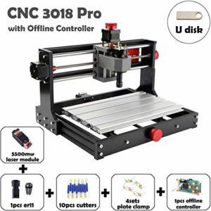 Mostics CNC 3018 Pro avec module laser 5.5W CNC graveur CNC machine de gravure CNC sculpture machine CNC routeur Fraiseuse CNC Gravure Laser Graveur Laser (CNC 3018 Pro, avec 5.5W laser module)