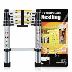 Nestling® Échelle Télescopique 2M en Aluminium Bricolage Pliable Extensible Unique Droite Multi-fonction Ladder Charge 330lbs (150 kg)
