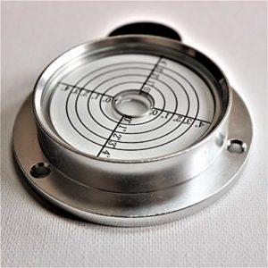 Niveau à Bulle d'Air Large Métallique – 90mm de Diamètre, Degrés, Boîtier Métallique, Niveau de Surface, Clair