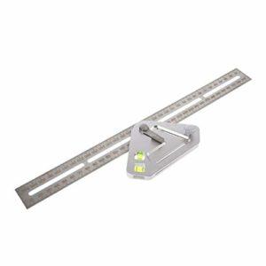 Outil de menuiserie de règle de multifonctionnel d'angle de règle de triangle de travail du bois outils de mesure instrument de niveau rapporteur-argent (BCVBFGCXVB)
