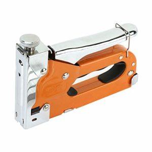 Pistolet à clous manuel avec agrafes 600pcs Pince à agrafer à main en cuir robuste 3 en 1