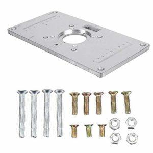 Plaque d'insertion de Table de toupie, Plaque d'insertion de Table de toupie en Aluminium 700C avec vis et Anneaux d'insertion pour établi de Travail du Bois, 235 mm X 120 mm X 8 mm