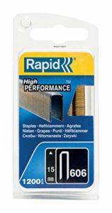 Rapid, 40109528, Agrafes N°606, Longueur 15mm, 1200 pièces, Pour charpenterie et matériaux résistants, Fil galvanisé enduit de résine, Haute performance