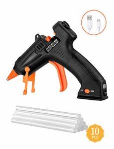 【Rechargeable】 TOPELEK Pistolet à Colle Chaud sans Fil 15W avec USB Câble, Mini Pistolet à Colle avec 10Pcs Bâtons Chauffage Rapide et Sûr pour Bateaux Projets & Bricolage et Réparations Rapides