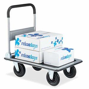 Relaxdays 10029572 Chariot de transport pliant avec revêtement antidérapant en caoutchouc Noir 350 kg