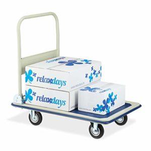 Relaxdays 10029573 Chariot de transport pliable avec revêtement antidérapant en caoutchouc Bleu/beige 300 kg