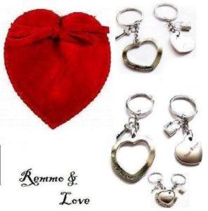 Remmo & Love partenaire pendentif en forme de cœur avec strass et clé, avec gravure