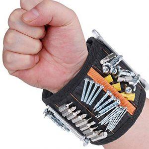 Rovtop Bracelet Magnétique Réglable avec 15 Aimants Super Puissants Bracelet avec Aimants pour Vis, Clous, Boulons et Petites Pièces Métalliques Cadeau pour Père, Bricoleur, Cadeau pour Fête des Pères