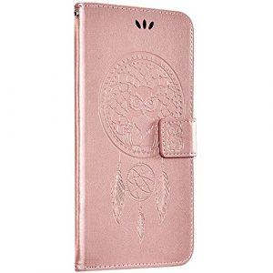 Saceebe Compatible avec Huawei Honor 10 Housse Etui Portefeuille Cuir Coque Attrape rêve Hibou Motif Pochette Folio Wallet Coque Porte-Cartes Clapet Support Anti Choc Magnétique,Or Rose