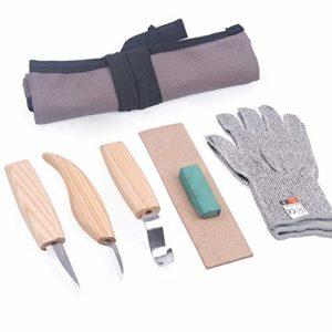 Sculpture sur bois Crochet Ensemble de couteaux 6 Pc Wood Carving Kit Outils dans le sac en toile, cuillère à découper Outils couteaux