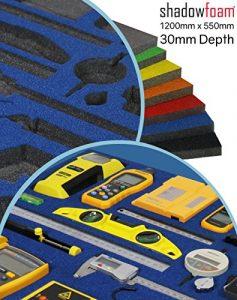 Shadow Foam – Bleu – Organisation de la boîte à outils | Insert en mousse (30 mm)