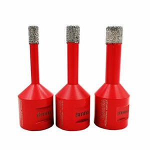 SHDIATOOL Forets Diamant 3PCS 6mm/8mm/10mm Brasé Sous Vide Trépans avec Filetage M14 pour Perçage à sec en Porcelaine Carrelage Granit Marbre