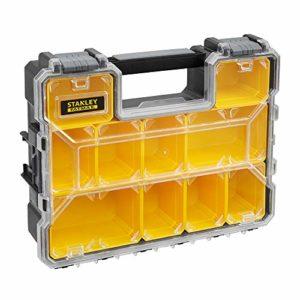 Stanley 1-97-521 Rangement Organiseurs Et Casiers Gamme FatMax – Polycarbonate Incassable – 10 Compartiments Amovibles Peu Profonds – Étanche – Poignée De Transport – Capacité 3.5L