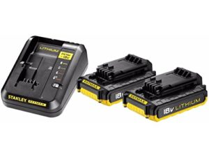 Stanley Fatmax – FMC693D2-Qw – Pack De 2 Batteries 18V, 2Ah Et Chargeur Rapide Équipé D'Un Système De Diagnostic Avec Témoin Led – Gamme Fatmax Plus Robuste Et Ergonomique