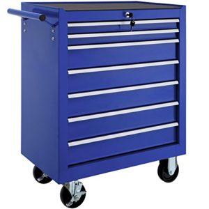 TecTake Chariot d'atelier servante à outils | 7 tiroirs spacieux verrouillables | -diverses modèles- (Bleu | No. 402801)