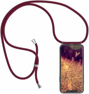 Uposao Collier Coque pour iPhone 11 Transparent Étui en Silicone avec Cordon Chaîne Sangle Dragonne,Crystal Cristal Clair Coque Souple TPU Gel Bumper Soft Skin Housse Étui,Rouge