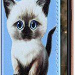 Uposao Compatible avec Coque Huawei Mate 20 Pro Motif Housse en Cuir,Etui à Rabat Glitter Brillante Premium Flip Case Portefeuille Stand Support,Emplacements Cartes,Magnetique Wallet,Chat Peu