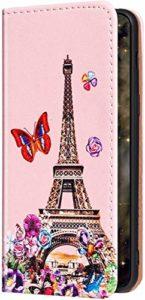 Uposao Compatible avec Coque Samsung Galaxy S9 Plus Motif Housse en Cuir,Etui à Rabat Glitter Brillante Premium Flip Case Portefeuille Stand Support,Emplacements Cartes,Magnetique Wallet,Tour Fleur