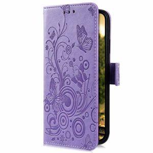 Uposao Compatible avec Huawei Honor 8 Coque en Cuir PU Motif Embossage Papillon Rétro Étui PU Housse Portefeuille à Rabat Magnétique Coque de Protection Fonction Support Porte Cartes,Violet