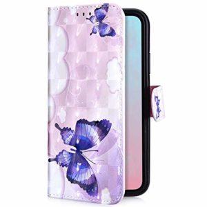 Uposao Huawei Y9 2019 Coque en PU Cuir Housse à Rabat Portefeuille Pochette en Luxe Glitter Paillettes,3D Effet Motif Coloré Folio Flip Case Cover Wallet Coque de Protection,Papillon Violet