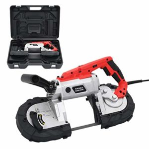 vidaXL Scie à Ruban avec Mallette Portable Electrique Atelier Garage Outil Variétés de Matériaux Compacte Polyvalente Scie à Chantourner Acier