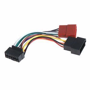 Wakauto Adaptateur 16 Broches Vers ISO Câble Audio Stéréo pour Voiture Et Adaptateur D'antenne Véhicules Compatibles Radio DVD