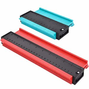 Wallinton 2Pcs / Set Duplicateur de jauge de profil de jauge de contour Formes irrégulières Gabarit de traçage Outil de mesure Outil de marquage profond (10 pouces rouge & 5 pouces vert )