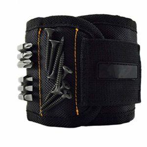 WRJ Bracelet magnétique, Velcro réglable Ceinture à Outils magnétique avec 10 Super Aimant Puissant pour Les vis des Clous et des forets Outil,Noir