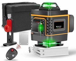 YAYY 16 Lignes de Niveau Laser 4D Auto-nivelant 360 Niveau de Faisceau de lumière Verte Horizontale et Verticale à Faisceau Laser apporte Le Cadre Mural(Upgrade)