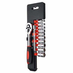 YO-TOKU 12pcs 1/4 pouces douille Clé à cliquet Spanner Extension Rod Combo Outils à main Kit de 4 mm / 5 mm / 6 mm / 7 mm / 8 mm / 9 mm / 10 mm / 11 mm / 12 mm / 13mm Matériel Kits d'outils Ensembles