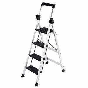 Yuzhonghua Slip Grand Pas Ladder d'ingénierie à Haute Portable accoudoir Tables de Conception d'intérieur/ingénierie de Charge en Aluminium 4 étapes 150g (Color : White)