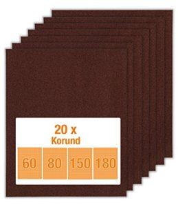 20 feuilles de papier émeri pour bois et métal