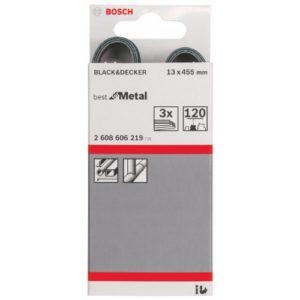 Bosch 2608606219 Bande abrasif 13 x 455 mm Grain 120 Set de 3 pièces Modèle B